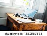 laptop computer earphones mouse ...   Shutterstock . vector #581583535
