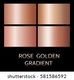 Stock vector rose gold foil texture isolated on black background vector shine metal gradient template 581586592