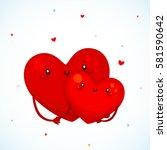 cute couple heart  cartoon...   Shutterstock .eps vector #581590642