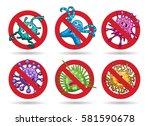 stop viruses emblem set in... | Shutterstock .eps vector #581590678