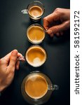 cups of coffee in ascending... | Shutterstock . vector #581592172