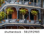 balconies in the french quarter ... | Shutterstock . vector #581592985