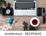 travel set of laptop  phone ... | Shutterstock . vector #581593642