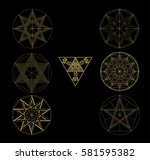 sacred geometry abstract... | Shutterstock .eps vector #581595382