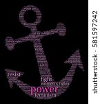 power women's rights word cloud ... | Shutterstock .eps vector #581597242