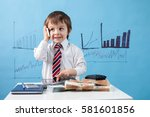 young boy  talking on the phone ... | Shutterstock . vector #581601856