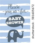 please join us baby shower card ... | Shutterstock .eps vector #581605672