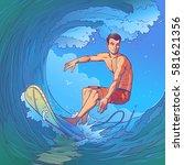illustration of a surfer | Shutterstock . vector #581621356