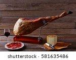iberian ham pata negra from... | Shutterstock . vector #581635486