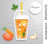 paper cut art with plastic cup... | Shutterstock .eps vector #581643142