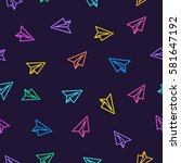 paper plane pattern colorful...   Shutterstock .eps vector #581647192
