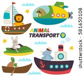 set of isolated sea transports... | Shutterstock .eps vector #581650108