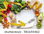 concept diet   healthy food... | Shutterstock . vector #581654362