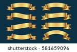 set of golden ribbons on blue...   Shutterstock .eps vector #581659096