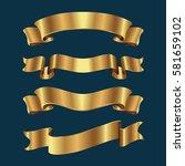 set of golden ribbons on blue...   Shutterstock .eps vector #581659102