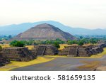 pyramid of the sun  teotihuacan ... | Shutterstock . vector #581659135