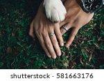 wedding couple holding hands... | Shutterstock . vector #581663176