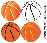 set of basketball balls on a... | Shutterstock .eps vector #581669932