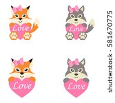 cute wolf and fox set | Shutterstock .eps vector #581670775