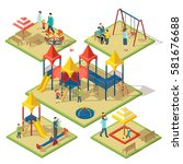 isometric amusement area... | Shutterstock .eps vector #581676688