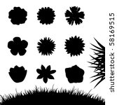 Set Of Silhouettes Flowers...