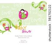 baby shower invitation template.... | Shutterstock .eps vector #581702122