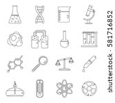 chemical laboratory icons set.... | Shutterstock .eps vector #581716852