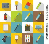 art and drawing tools set. flat ...   Shutterstock .eps vector #581716882