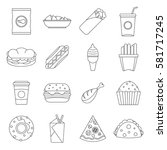 fast food icons set. outline... | Shutterstock .eps vector #581717245