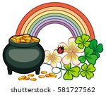 holiday label with shamrock ... | Shutterstock . vector #581727562