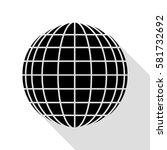 earth globe sign. black icon... | Shutterstock .eps vector #581732692