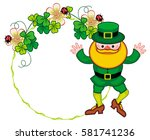 round frame with shamrock and... | Shutterstock . vector #581741236