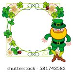round frame with shamrock and... | Shutterstock . vector #581743582
