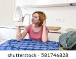 young beautiful and happy woman ... | Shutterstock . vector #581746828