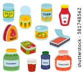 collection of various tins... | Shutterstock .eps vector #581748562