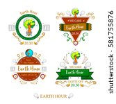 earth hour set of 4 stickers | Shutterstock .eps vector #581755876