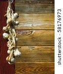 Bunch  Braid Of Garlic Hanged...