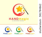 hand and magic stick logo  icon ... | Shutterstock .eps vector #581784862