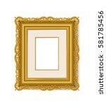 vintage gold picture frame  | Shutterstock .eps vector #581785456