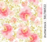 repeating  modern pink floral... | Shutterstock . vector #581788522