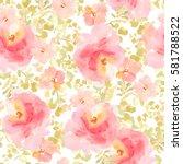 modern pink floral pattern.... | Shutterstock . vector #581788522