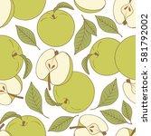 fresh apples background  hand... | Shutterstock .eps vector #581792002
