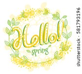 hello spring greeting card... | Shutterstock .eps vector #581793196