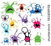 Stock vector set of twelve color cute monsters with emotions isolated on white cartoon illustration 581808958