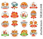 delivery pizza badge vector... | Shutterstock .eps vector #581811448