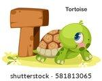 wooden textured bold font... | Shutterstock .eps vector #581813065