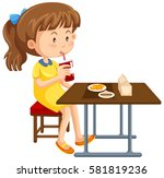 girl having lunch on the table... | Shutterstock .eps vector #581819236