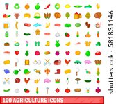100 agriculture icons set in... | Shutterstock . vector #581831146