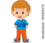 cute boy cartoon | Shutterstock . vector #581835172