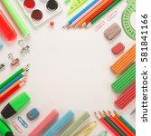 school office supplies on a...   Shutterstock . vector #581841166